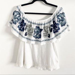 Free People Off Shoulder Top w/ Embroidered Ruffle